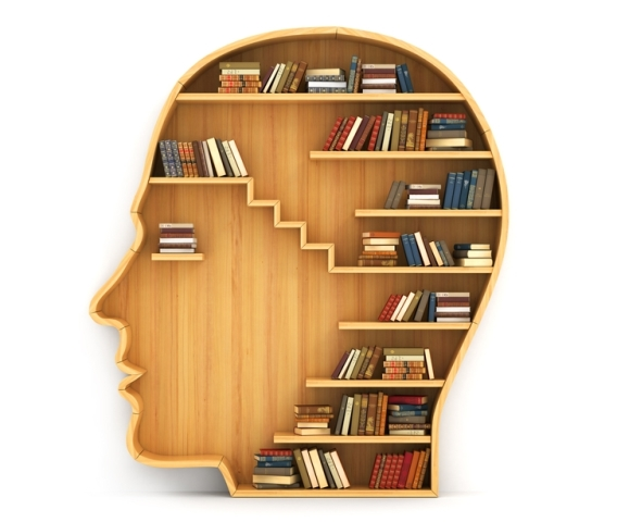 Inside of person's head filled with books on wooden shelves