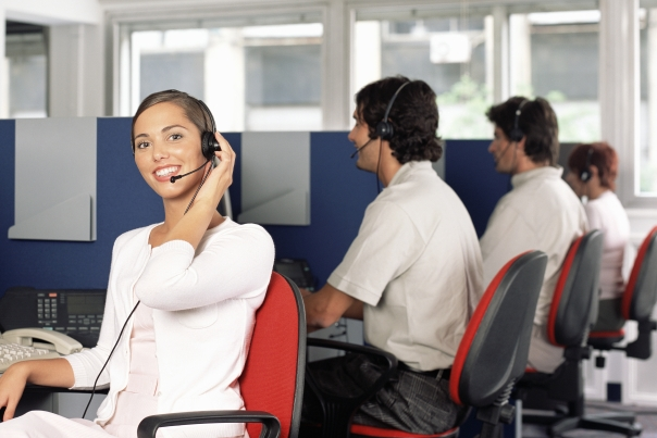 Team of contact center representatives at work